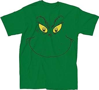 ... .com: Dr. Seuss Big Grinch Face Green Adult T-shirt Tee: Clothing