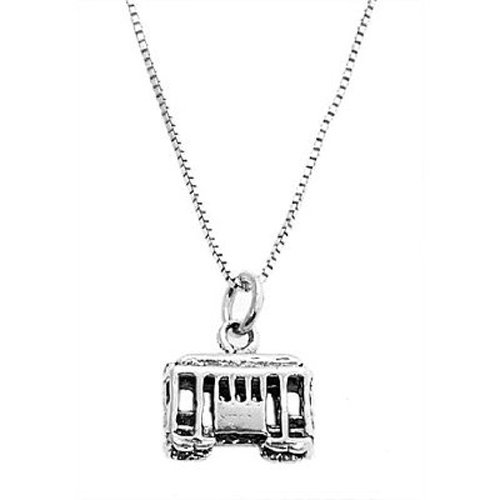 Sterling Silver 3 Dimensional Cable Car Necklace
