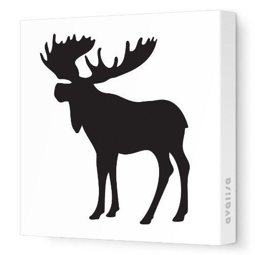 "Avalisa Stretched Canvas Nursery Wall Art, Moose Silhouette, Black, 18"" x 18"""
