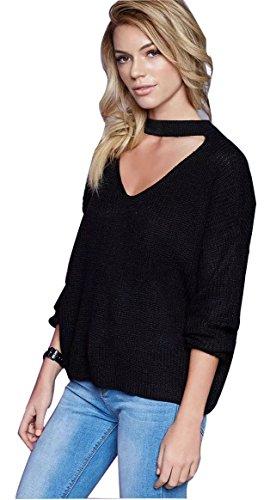 HEROSKY-Women's Choker V-Neck Long Sleeve Ribbed Short Knitted Sweater Pullover