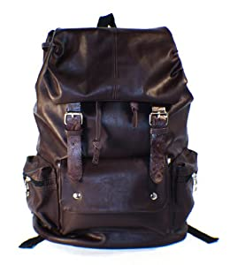 Brown PU Backpack School Bag Super Cool for School-By JAM Closet