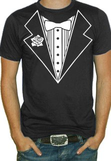 Tuxedo With White Flower T-Shirt (Black) #6