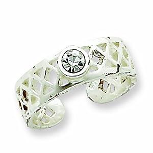 Sterling Silver Fancy CZ Toe Ring