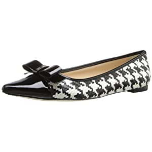 kate spade new york Women's Gabe Too Flat,Black/White/Houndstooth Raffia/Black Patent,7 M US