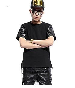 ピゾフ (Pizoff) メンズ Tシャツ 半袖 ブラック 無地 袖PUレザー切替 ストリート系 ファッション 原宿系 ヒップホップスタイル 快適 カジュアル Y0425---S
