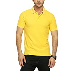 Willmore Men's Cotton Polo (SDL467637699 _Yellow _Large)