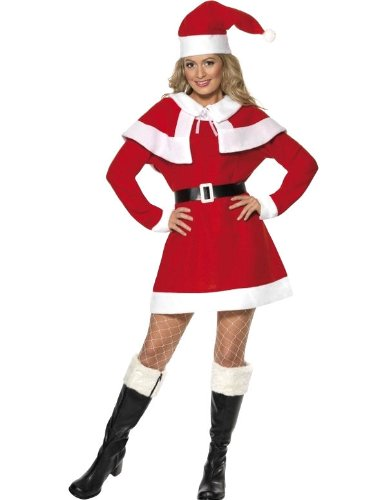 Smiffys Women's Red/White Miss Santa Fleece Costume -US Dress 10-12