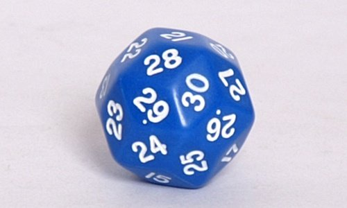 Koplow Opaque d30 Dice, Blue with White numbers