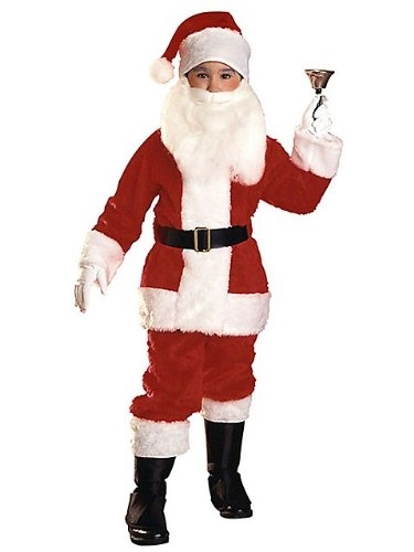 Plush Santa Claus Suit Kids Costume