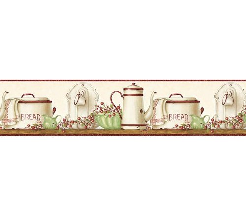 Burgundy Enamelware Shelf Wallpaper Border