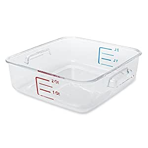 Rubbermaid Commercial FG630200CLR Space-Saving Container, 2-Quart Capacity