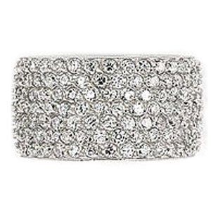Sterling Silver Pave Cubic Zirconia Eternity Wedding Ring (Nickel Free)