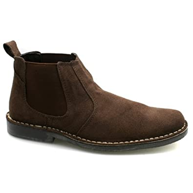 Mens Suede Twin Gusset Dark Brown Suede Ankle Chelsea Boots UK 7