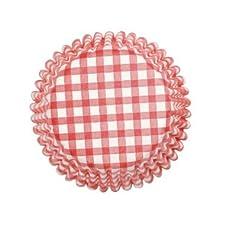 Figura decorativa Cupcakes para bizcocho con forma de papel estándar, rojo/blanco a cuadros-54 unidades