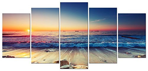 Pyradecor 5 Panel Modern Seascape Artwork Stretched and Framed Sea Beach Pictures Giclee Canvas Prints Waves Paintings on Canvas Wall Art for Living Room Bedroom Home Decor (Nautical Paintings compare prices)