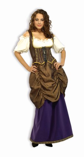 Forum Designer Deluxe Pirate Wench Costume, White, Dark Brown, Purple, Gold Accents, X-Large (18-20)