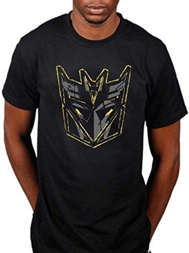 AWDIP Men's Official Transformers Decepticon Mask Logo T-Shirt Movie Megatron Eyes Optimus Prime