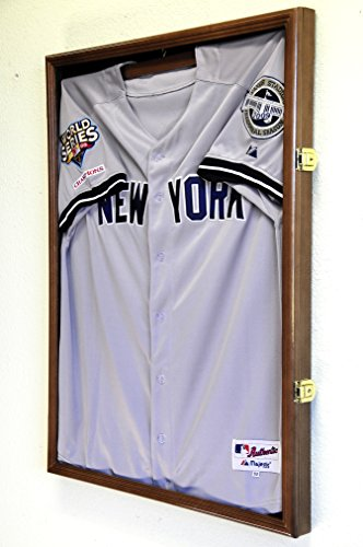 Basketball Jersey Display Case Cabinet, Walnut Finished (Soccer Jersey Display Case compare prices)