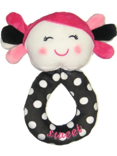 Baby Girl Dot Print Doll with Plush Rattle Mirror by Baby Starters - Hot Pink - Not Applicable