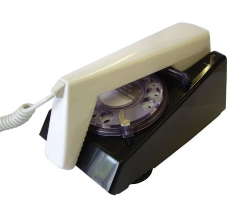 Rotary Dial Retro 1970's Style Reproduction Trim Phone - Black Base / White Handset image