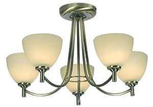 Hamburg 5 Light Ceiling Fitting Antique Brass Finish G9 Bulbs from Oaks Lighting