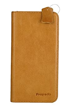 buy Iphone 6 Plus / 6S Plus Leather Case, Propado Premium Cowhide Leather Wallet Case With Stand Function, Credit Card Holder & Money Pocket, Magnetic Closure (Cognac Brown)
