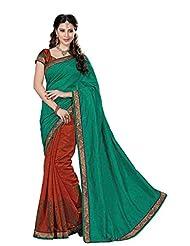 De Marca Green::Red Dupion Silk Designer Jai2031 Saree