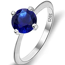 buy Ever Faith 925 Sterling Silver Round Cut .46Ct Solitaire Cubic Zirconia Blue Sapphire Color Ring Size 7
