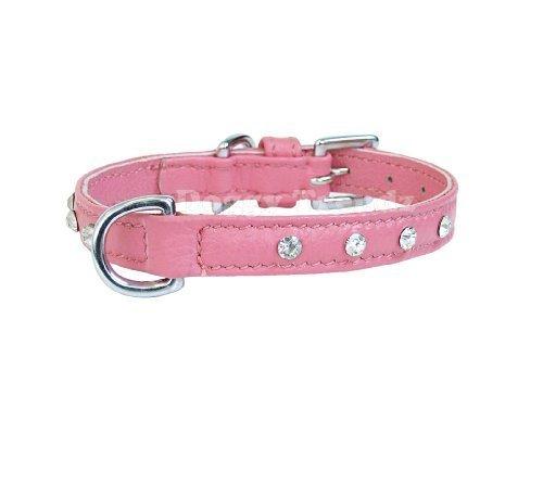 14-vera-pelle-diamante-collare-per-cane-per-cuccioli-o-cani-piccola-in-rosa