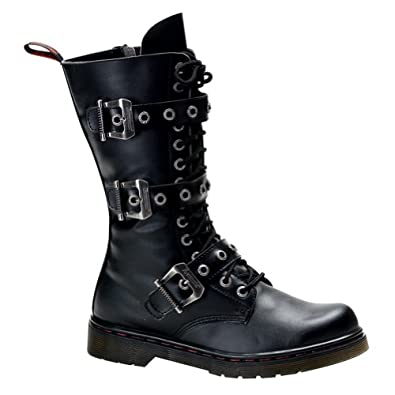 MENS Gothic Boots Combat Boot Style Calf Boot Buckles Inner Zipper Lace Up Size: 4
