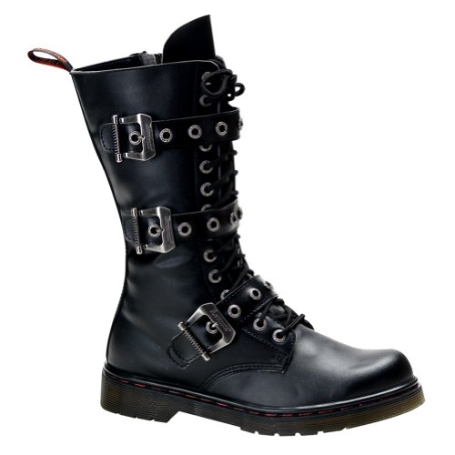 MENS Gothic Boots Combat Boot Style Calf Boot Buckles Inner Zipper Lace Up