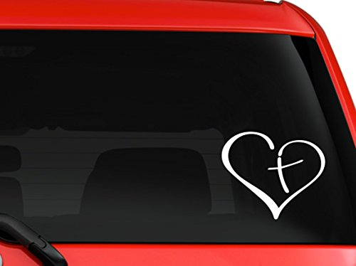 Heart with cross in center religion bible God Jesus Love car truck SUV window laptop Kitchen wall macbook decal sticker Approx 6 inches white