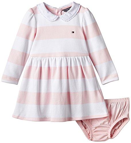 Tommy Hilfiger Baby - Mädchen, Bademantel, Rugbystripe Baby Dress L/S, Rosa (Barely Pink 631), 80 (Herstellergröße:80)