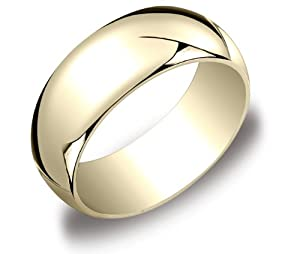 Men's 10k Yellow Gold 8mm Traditional Plain Wedding Band, Size 9.5