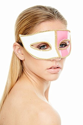 KAYSO INC Jester Collection Gold Studded Mardi Gras Masquerade Mask
