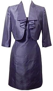 Tahari ASL Briana Navy Blue Satin-Like Draped Bolero Dress Suit Size 6 Petite