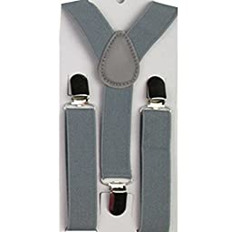 Kids and Baby Adjustable Elastic Solid Color Suspenders Gray F