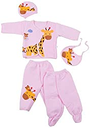 Kuchipoo Winter Wear Baby Set (Pink, 0 to 9 Month)