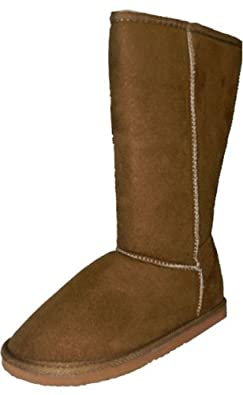 "Womens Boots Mid Calf 12"" Australian Classic Tall Faux Sheepskin Fur 4 Colors,Betty-1 Tan 5.5"
