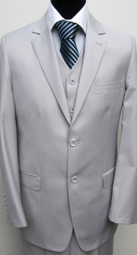 MUGA 2-Button mens Suit + Waistcoat, light Gray, size 34R (EU 44)