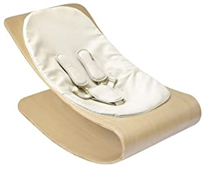 Bloom Coco Stylewood Baby Lounger with Seat Pad, Natural Frame, Coconut White