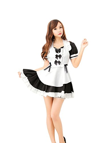 New Women's Anime Cosplay French Apron Maid Fancy Dress Costume