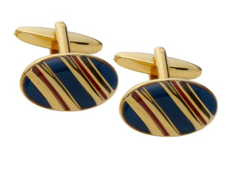 Code Red Gold Plated Cufflinks with Navy and Red Enamel Stripes