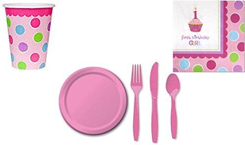 Cupcake 1st Birthday Girl Standard Kit Serves 16 Guests