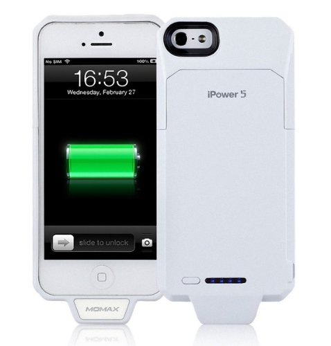 New Ginuine Momax Ipower 5 2250Mah Extended Battery Charging Case For Apple Iphone 5 - White