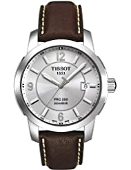 Tissot Men's Sport T014.410.16.037.00 Brown Leather Quartz Watch with Silver Dial