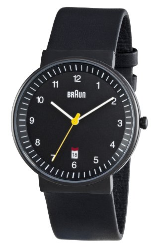 Braun Men's Quartz 3 Hand Movement Watch BN0032BKBKG With Leather Strap