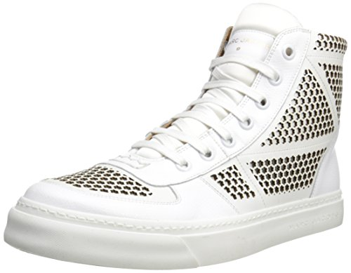 MARC JACOBS Men's Fancy Force Laser Cut High Top Fashion Sneaker, White, 43 EU/9 M US