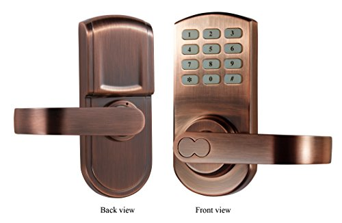 keypad door lock electronic keyless set antique copper reversible handle left or right handle. Black Bedroom Furniture Sets. Home Design Ideas