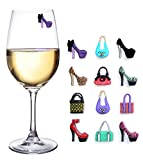 Fun High Heels & Handbags Magnetic Wine Glass Charms & Markers- Set of 12